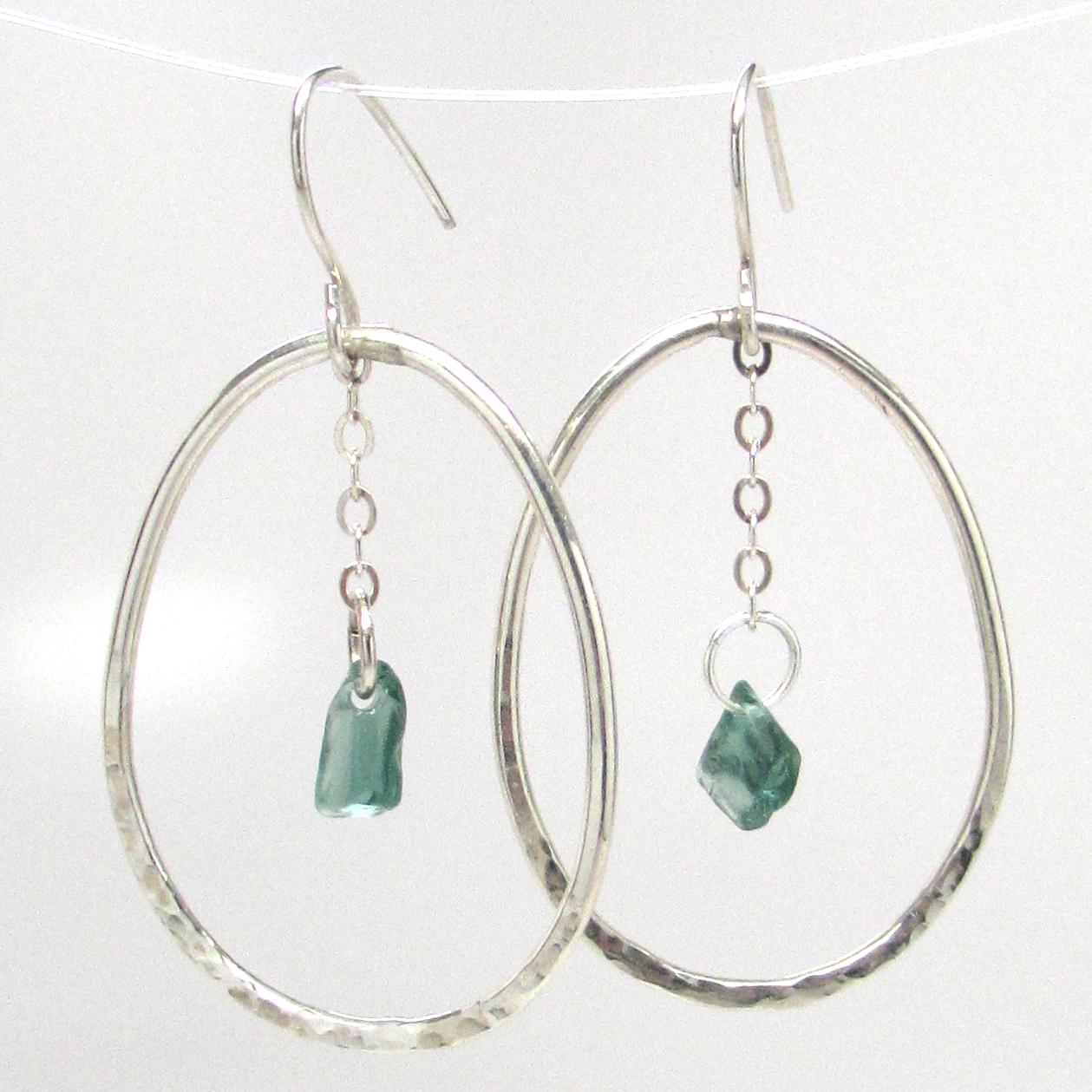 Hammered Pendulum Hoop Earrings