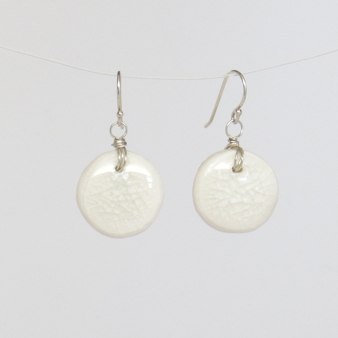 Coastal Chic Round White Earrings