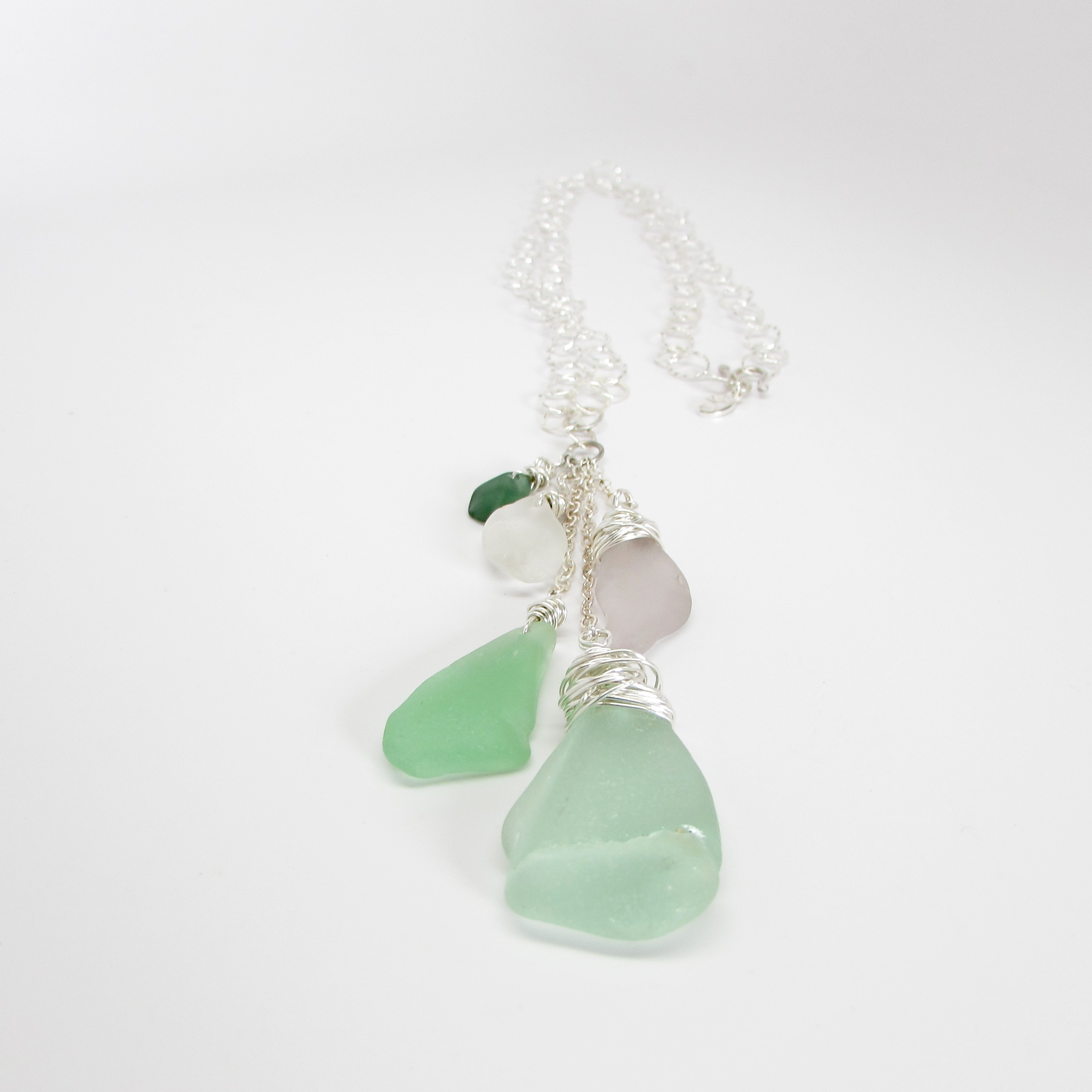 Sea Glass Waterfall Necklace in Spring Blossoms