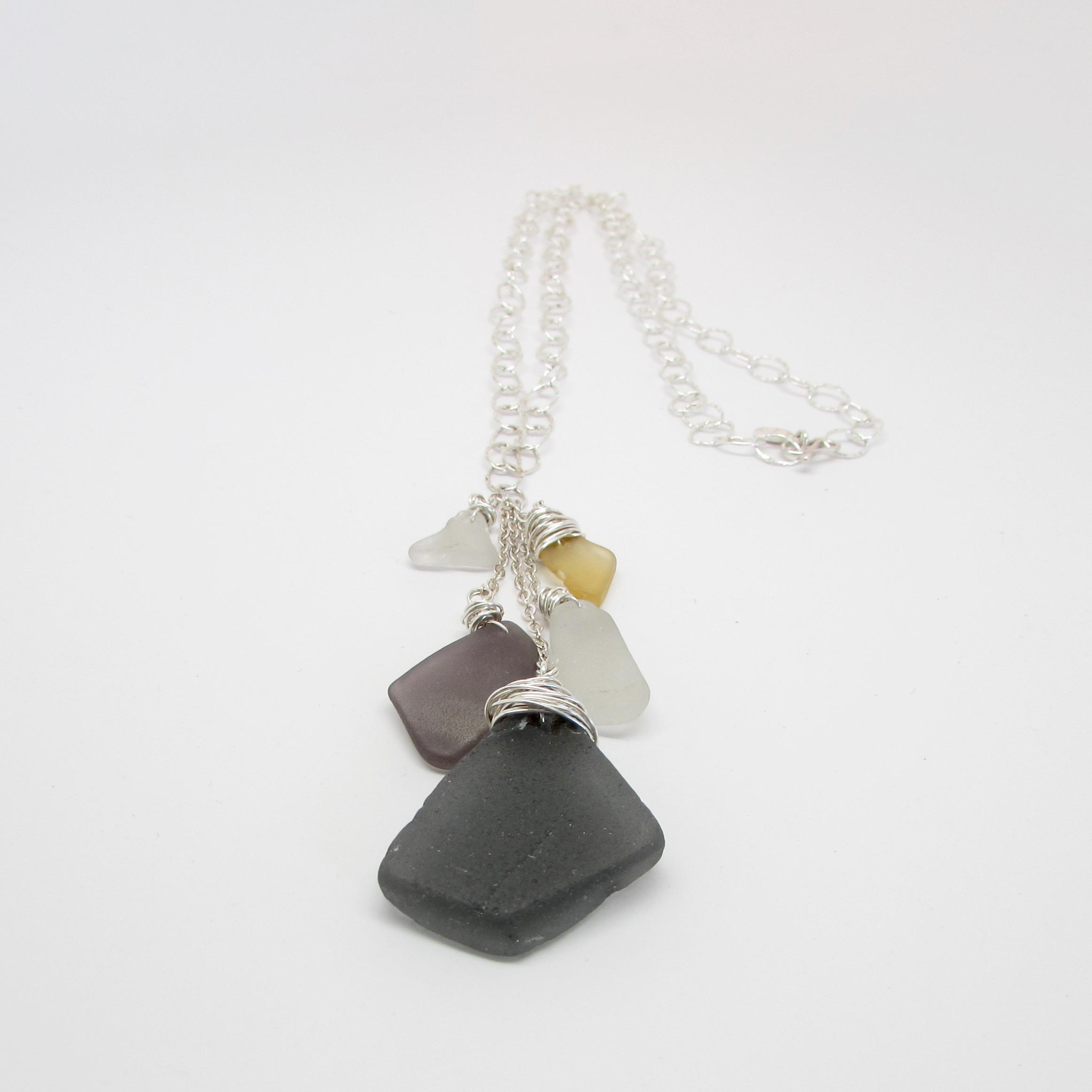 Sea Glass Waterfall Necklace Grays