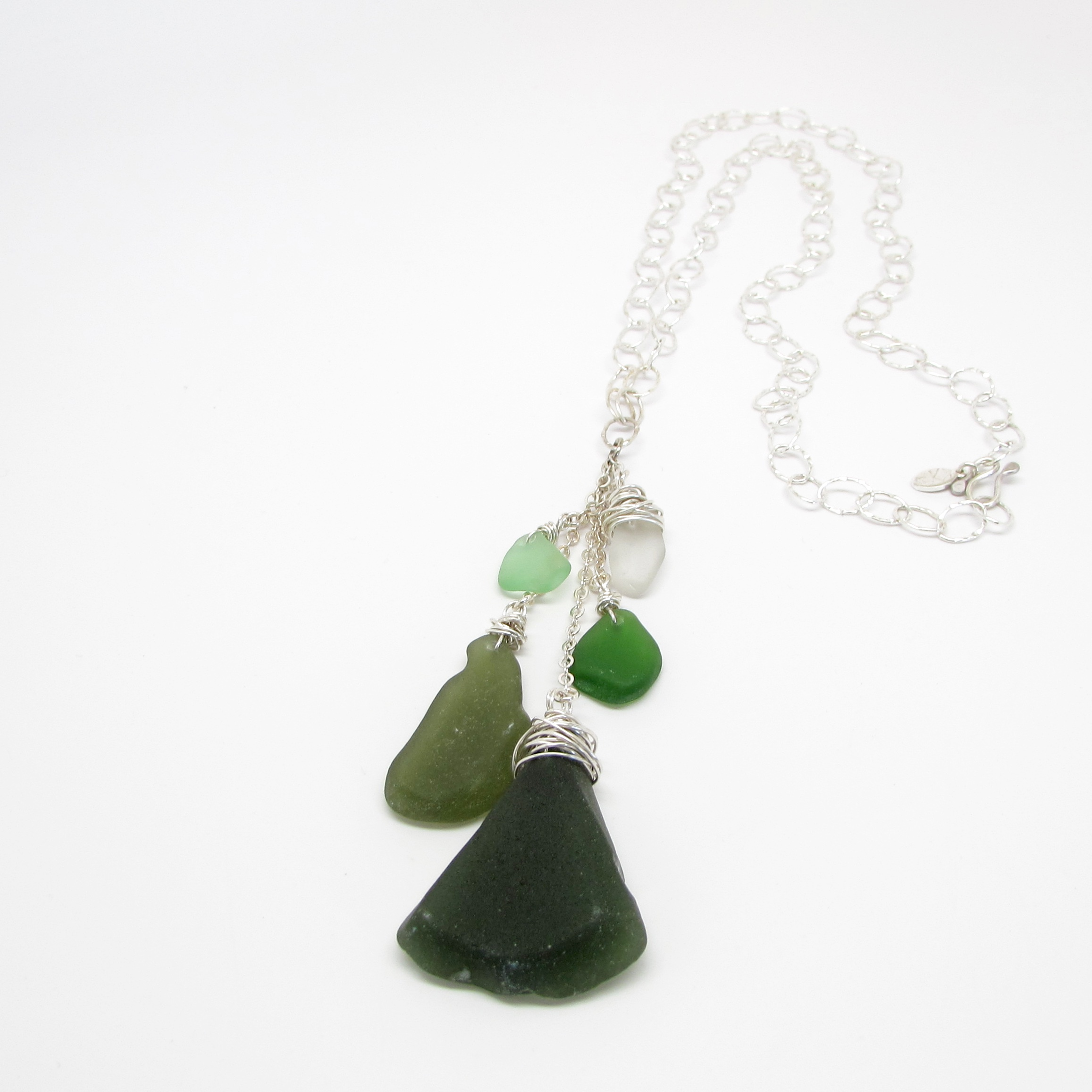 Sea Glass Waterfall Necklace in Nature Green