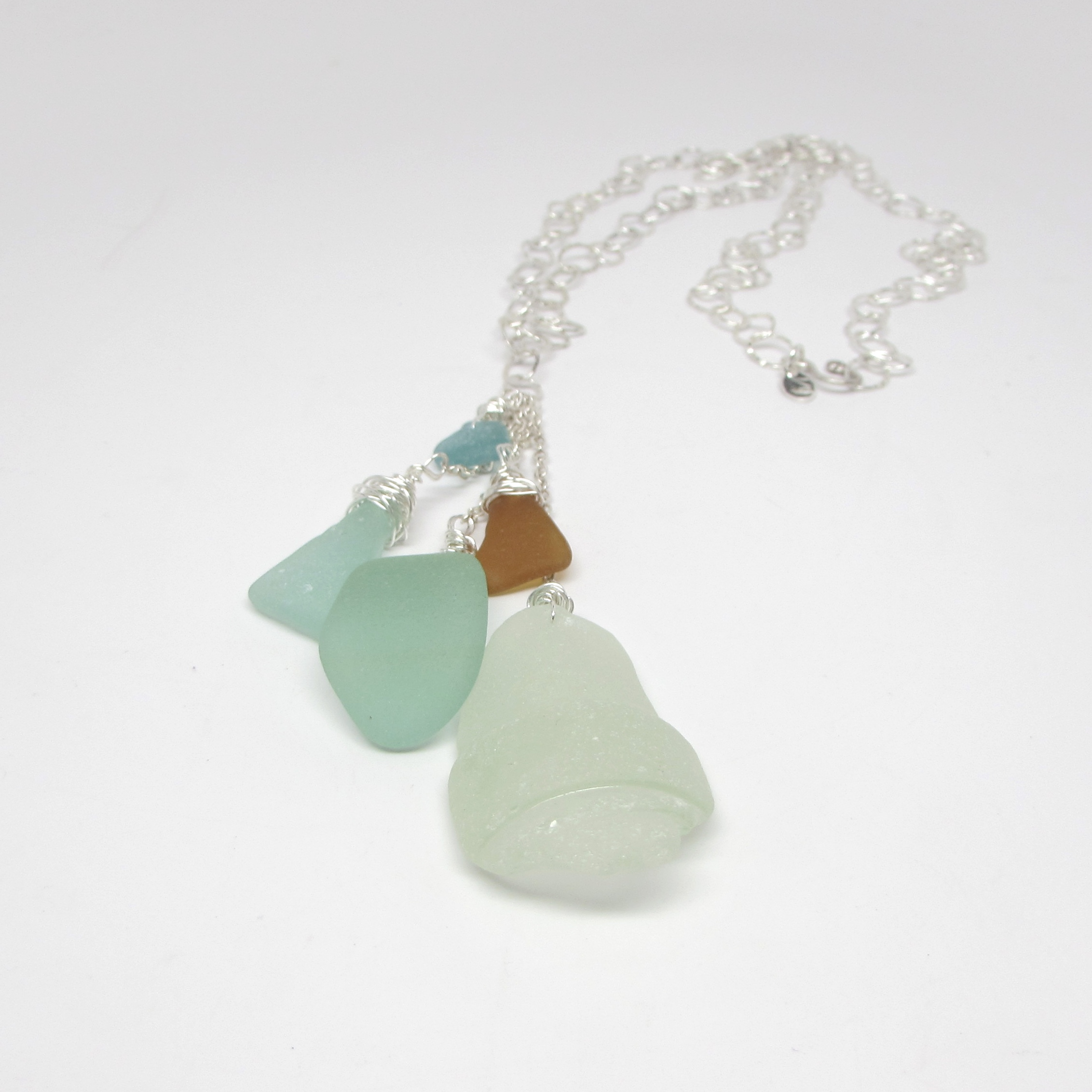 Sea Glass Beachy Waterfall Necklace